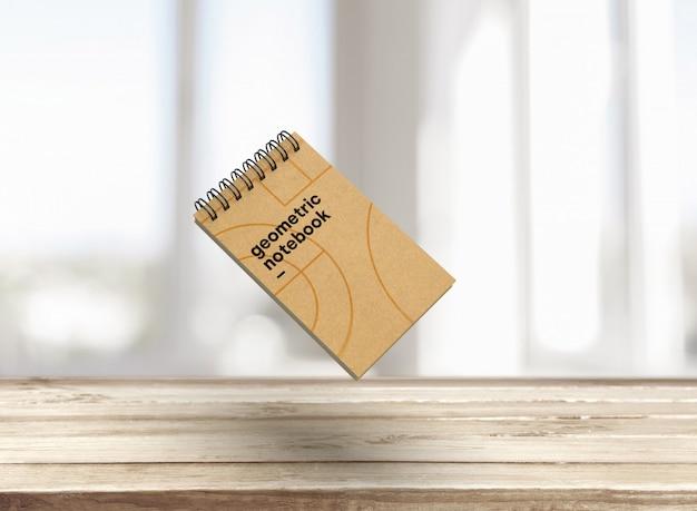 幾何学的なスタイルの美しいノートブックモックアップ
