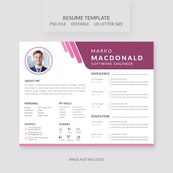 Beautiful pink resume template