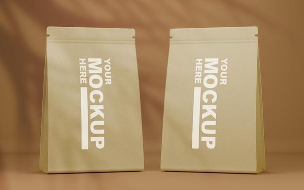 美しいリアルな紙のフードバッグのモックアップ