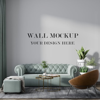 Beautiful room with empty wall mockup
