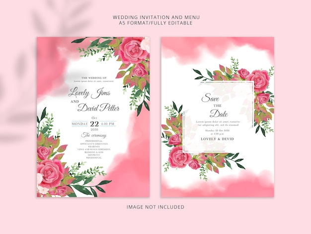 Beautiful soft red wedding invitation template premium psd