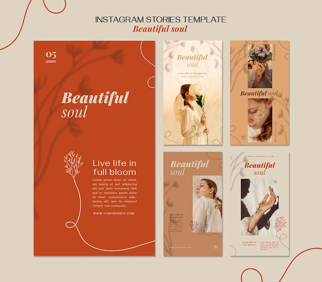 Beautiful soul ad instagram stories template