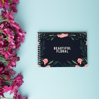 Beautiful spiral notepad mockup