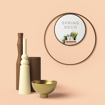 Beautiful spring deco concept mock-up