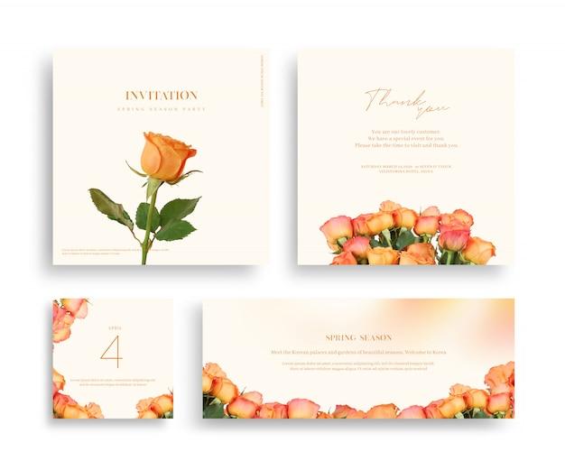 아름다운 봄 꽃 프레임, 초대장, 웨딩 카드, 감사 인사,