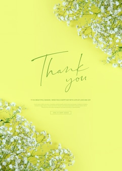 Beautiful spring flowers banner, thank you word