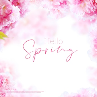 Beautiful spring flowers card, season theme, hello spring