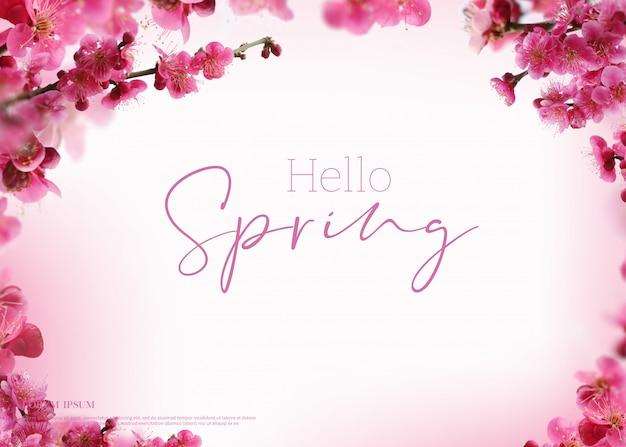 Beautiful spring flowers card, season theme, hello spring