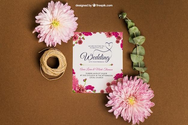 Beautiful stationery wedding mockup