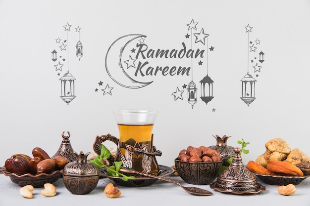 Beautiful still life with ramadán elements