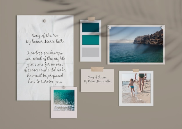 Beautiful summer moodboard template