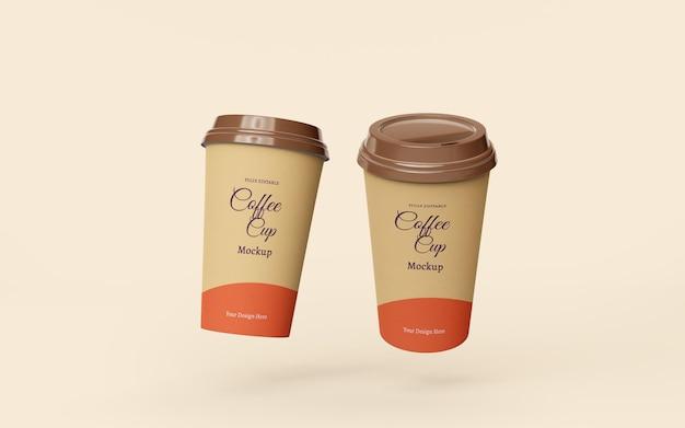 Красивый макет бумажных кофейных чашек на вынос