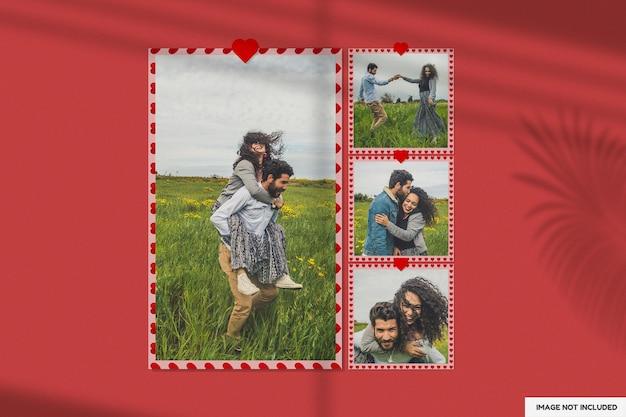 Красивый макет бумажной рамки на день святого валентина