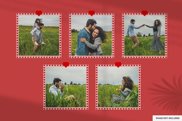 Beautiful valentine paper frame mockup