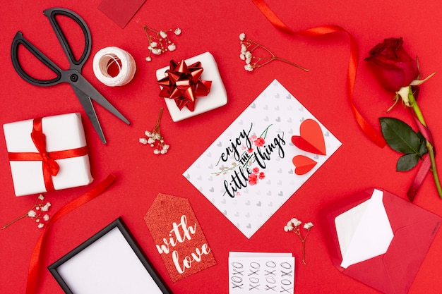 Beautiful valentine's day concept with red background