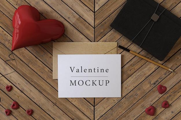 아름다운 발렌타인 데이 기프트 카드 개념 모형