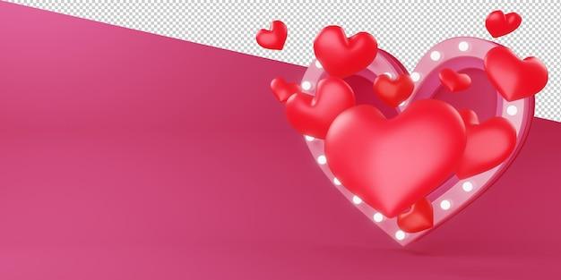 Красивая иллюстрация ко дню святого валентина в 3d-рендеринге
