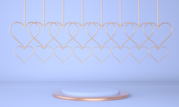 Красивый дизайн интерьера постамента ко дню святого валентина в 3d-рендеринге
