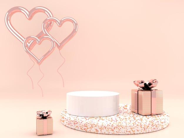 3d 렌더링의 아름다운 발렌타인 데이 인테리어 받침대 디자인
