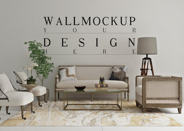 Beautiful wall mockup in classic living room
