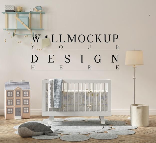 Beautiful wall mockup in cute nursery room