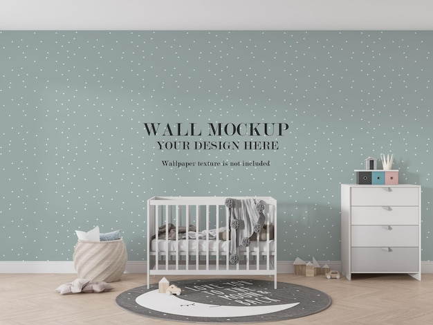 Beautiful wall mockup design behind baby bed
