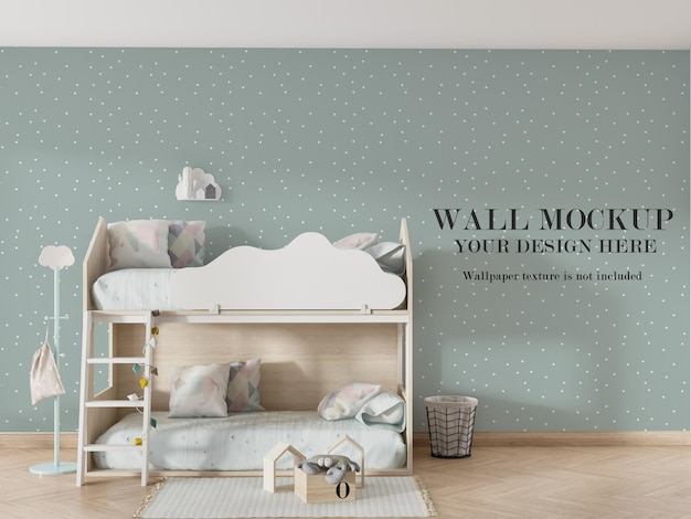 Beautiful wall mockup design behind bunk bed