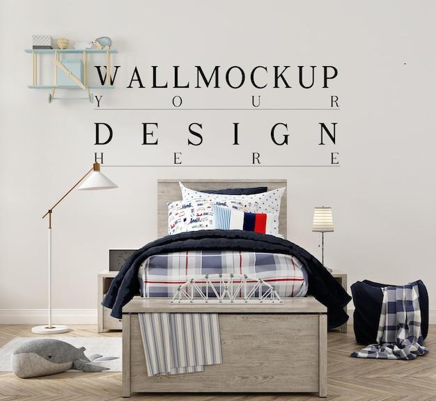 Красивый макет стены в современной детской спальне