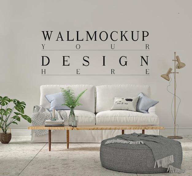 Красивый макет стены в простой современной гостиной с диваном