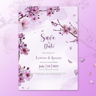 桜の花と美しい水彩画の結婚式のテンプレート Premium Psd