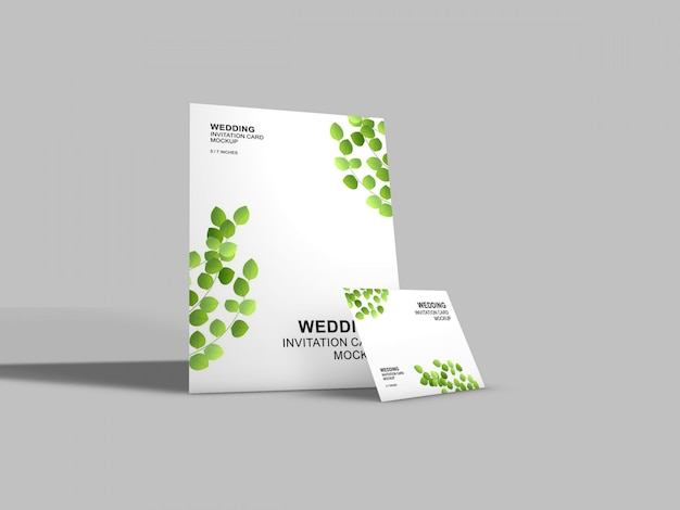 Beautiful wedding card mockup template