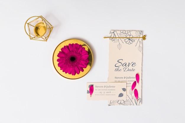 Beautiful wedding card mockup