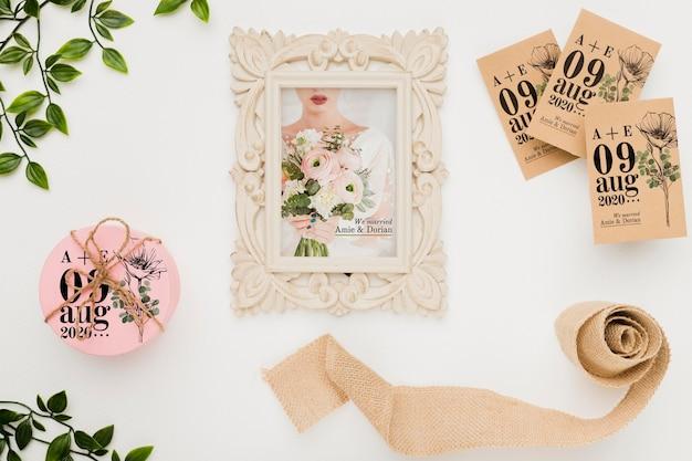 美しい結婚式のコンセプトのモックアップ