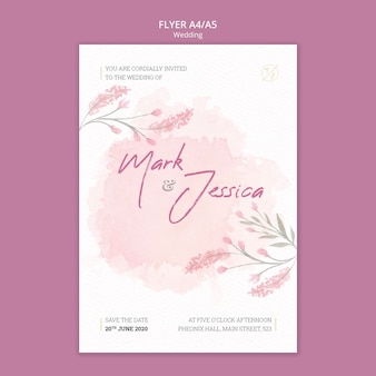 Beautiful wedding flyer mock-up