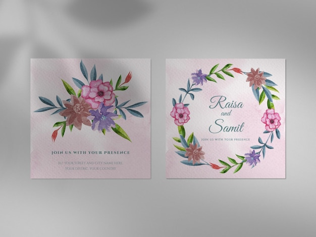 Beautiful wedding invitation collection with watercolor design