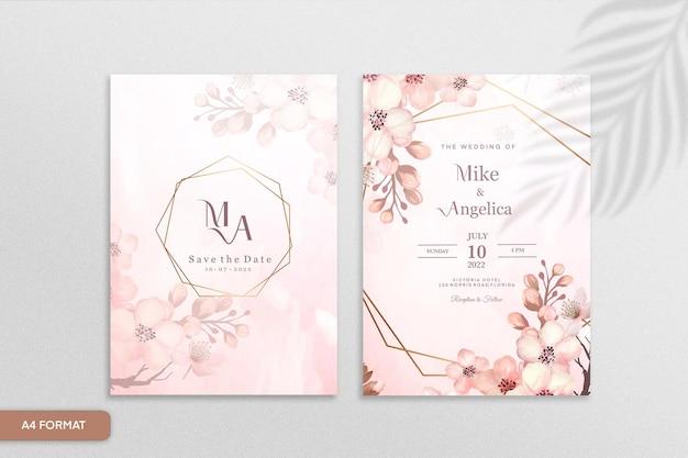 ピンクの花と美しい結婚式の招待状のテンプレート