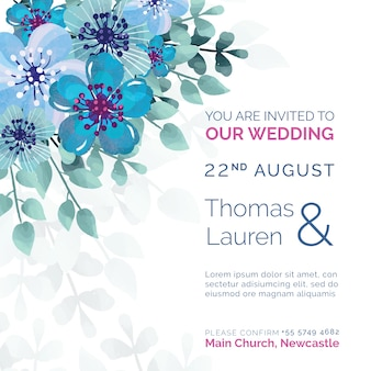 Beautiful wedding invitation with blue flowers