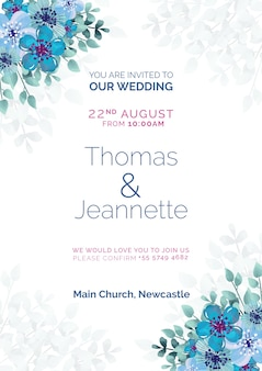 Beautiful wedding invitation with blue painted flowers