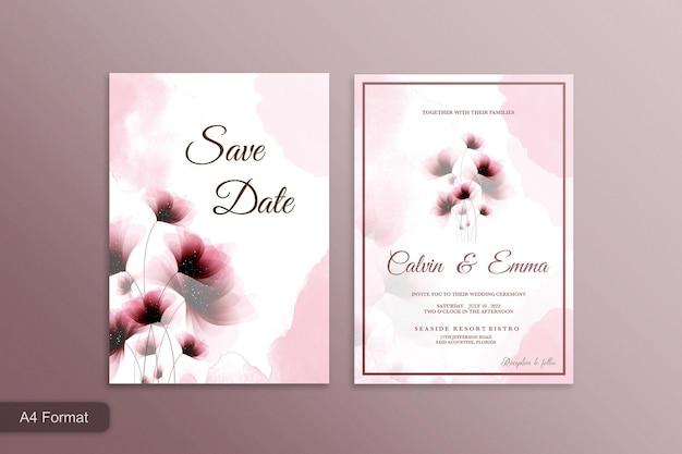 ピンクの花と美しい結婚式の招待状
