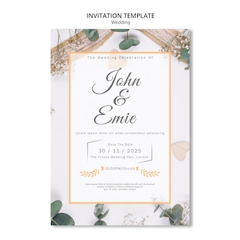 Beautiful wedding invitation with pretty ornaments