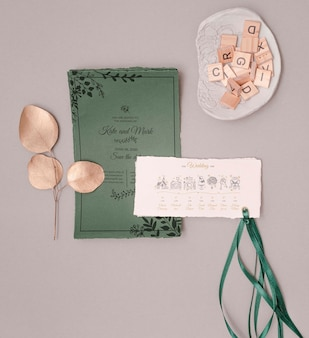 Beautiful wedding invitation with ribbon