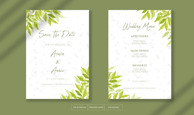 Beautiful wedding invitation with watercolor leaves decoration template