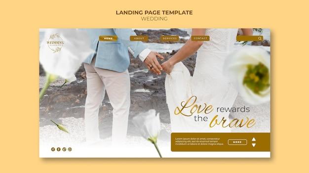 Bellissimo modello di pagina di destinazione del matrimonio