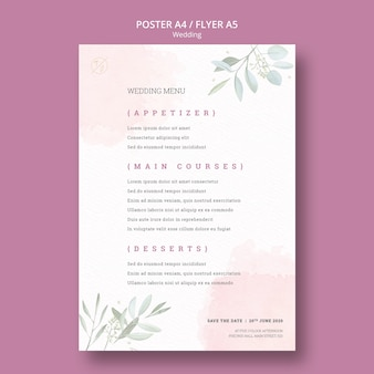 Beautiful wedding menu poster mock-up