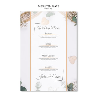 Beautiful wedding menu with ornaments