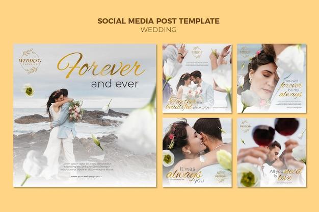 Bellissimo set di post sui social media per matrimoni