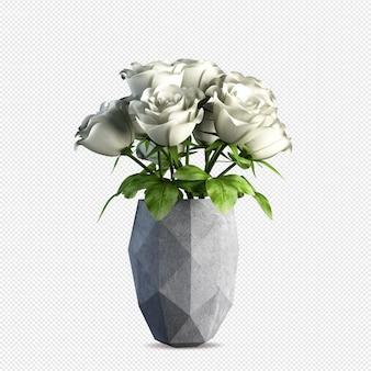 고립 된 꽃병 3d 렌더링에 아름 다운 흰 장미