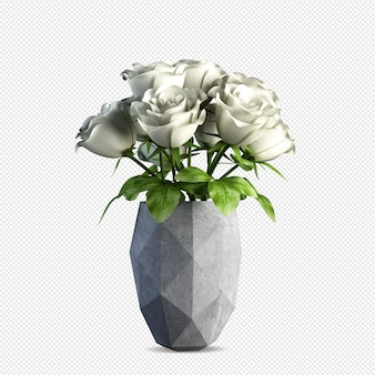 Beautiful white roses in vase 3d rendering isolated