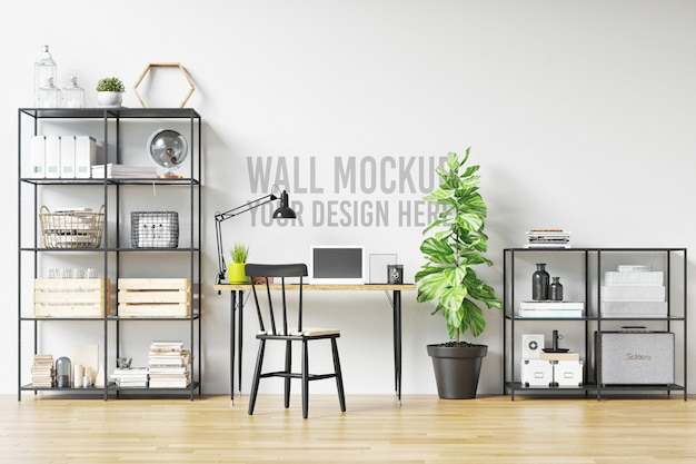 Beautiful white wall mockup interior workspace scandinavian style