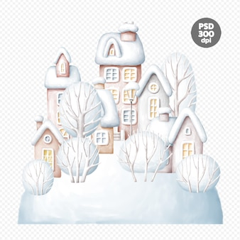 Красивый зимний городок рисованной цифровой иллюстрации